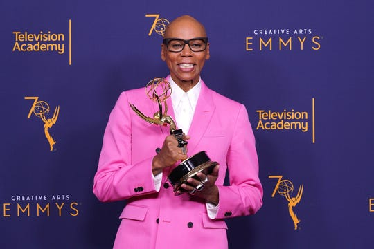 LOS ANGELES, CA - SEPTEMBER 09:  RuPaul Charles, winner of the award for outstanding host for a reality or reality-competition program for 'RuPaul's Drag Race', poses in the press room during the 2018 Creative Arts Emmy Awards at Microsoft Theater on September 9, 2018 in Los Angeles, California.  (Photo by JC Olivera/WireImage) ORG XMIT: 775218625 ORIG FILE ID: 1030170998