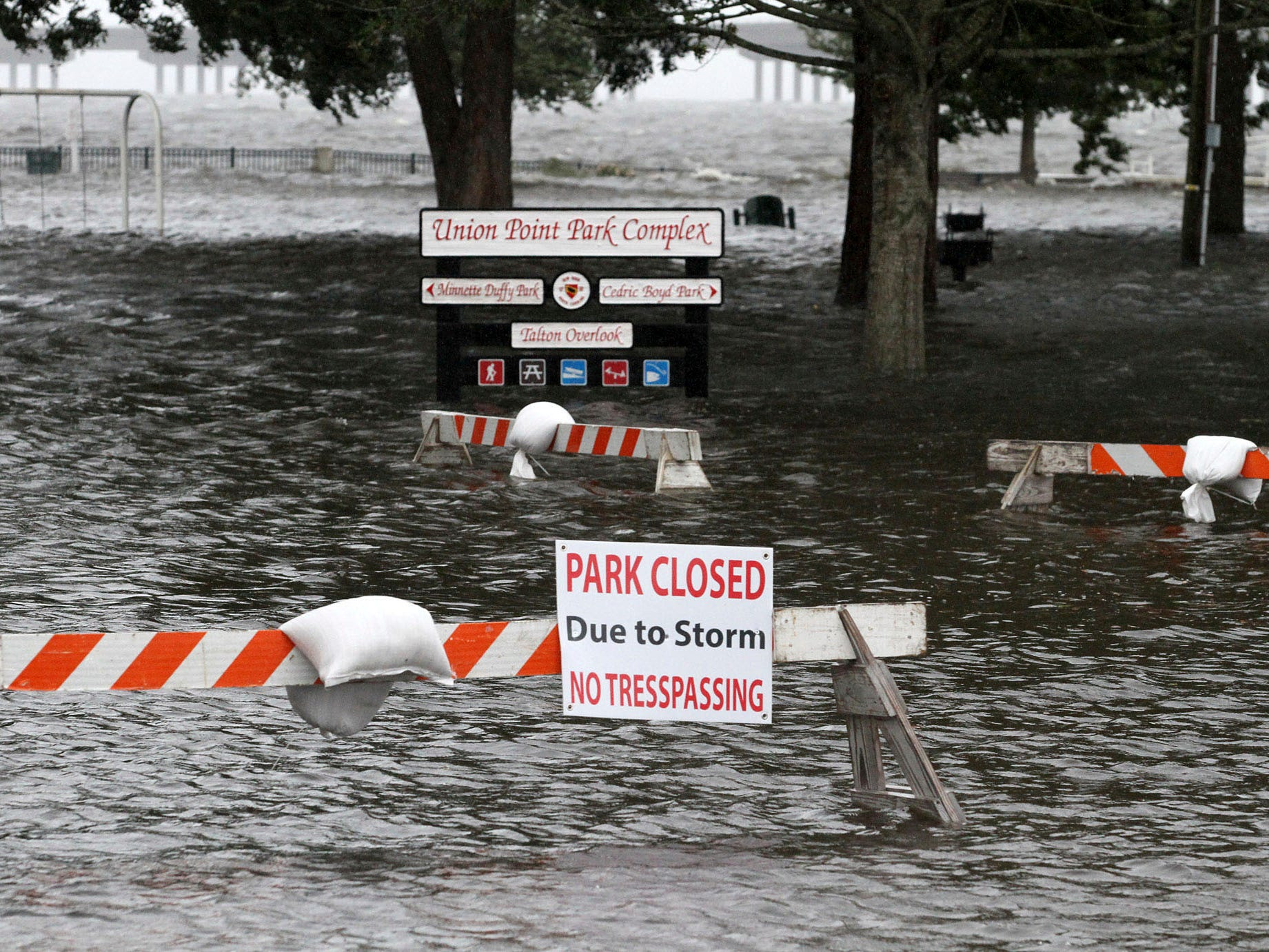 Union Point Park is flooded with rising water from the Neuse and Trent Rivers in New Bern, N.C. Thursday, Sept. 13, 2018. Hurricane Florence already has inundated coastal streets with ocean water and left tens of thousands without power, and more is to come.  (Gray Whitley/Sun Journal via AP) ORG XMIT: NCBER107