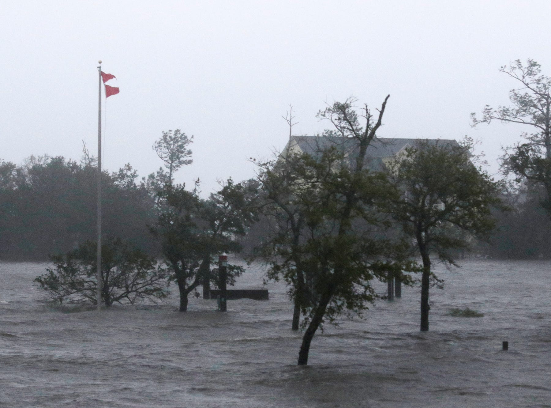 High winds and storm surge from Hurricane Florence hits Swansboro North Carolina on Sept. 14, 2018.