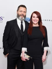Nick Offerman and Megan Mullally at the 43rd Annual Gracie Awards at the Beverly Wilshire Four Seasons Hotel on May 22, 2018 in Beverly Hills.
