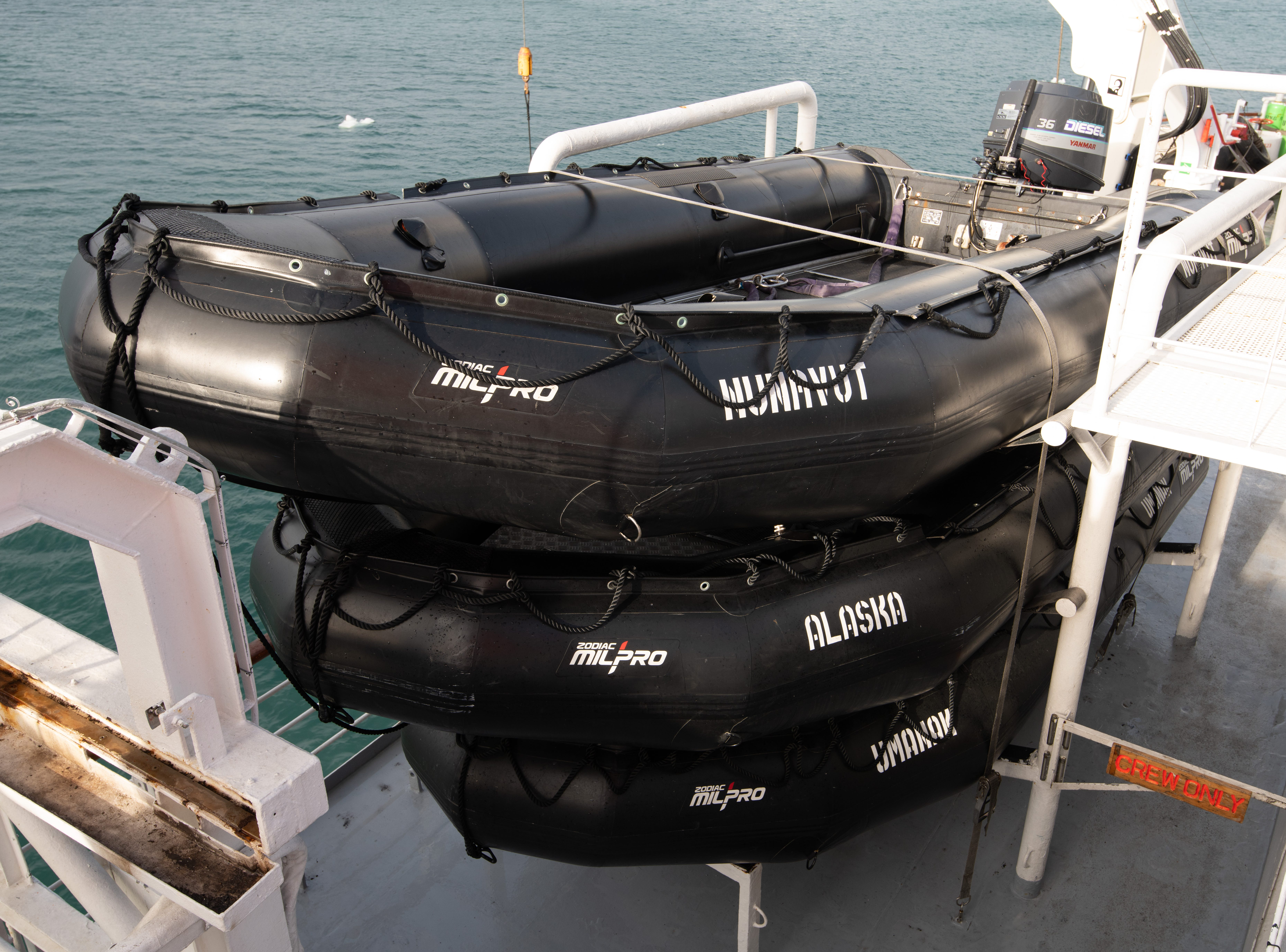 Bremen carries a dozen Zodiac boats that are used for exploring in remote locations such as the Arctic and Antarctica.