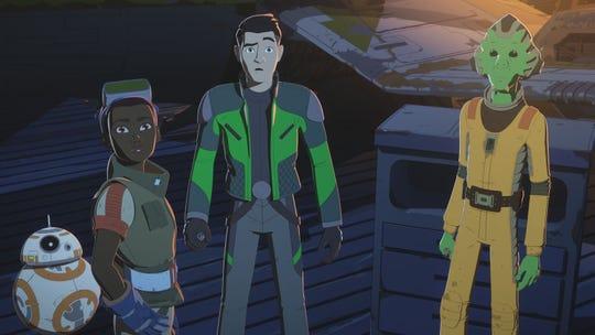 Kaz (center, voiced by Christopher Sean) gets help racing the Fireball from BB-8,  Tam Ryvora (Suzie McGrath) and Neeku Vozo (Josh Brener).