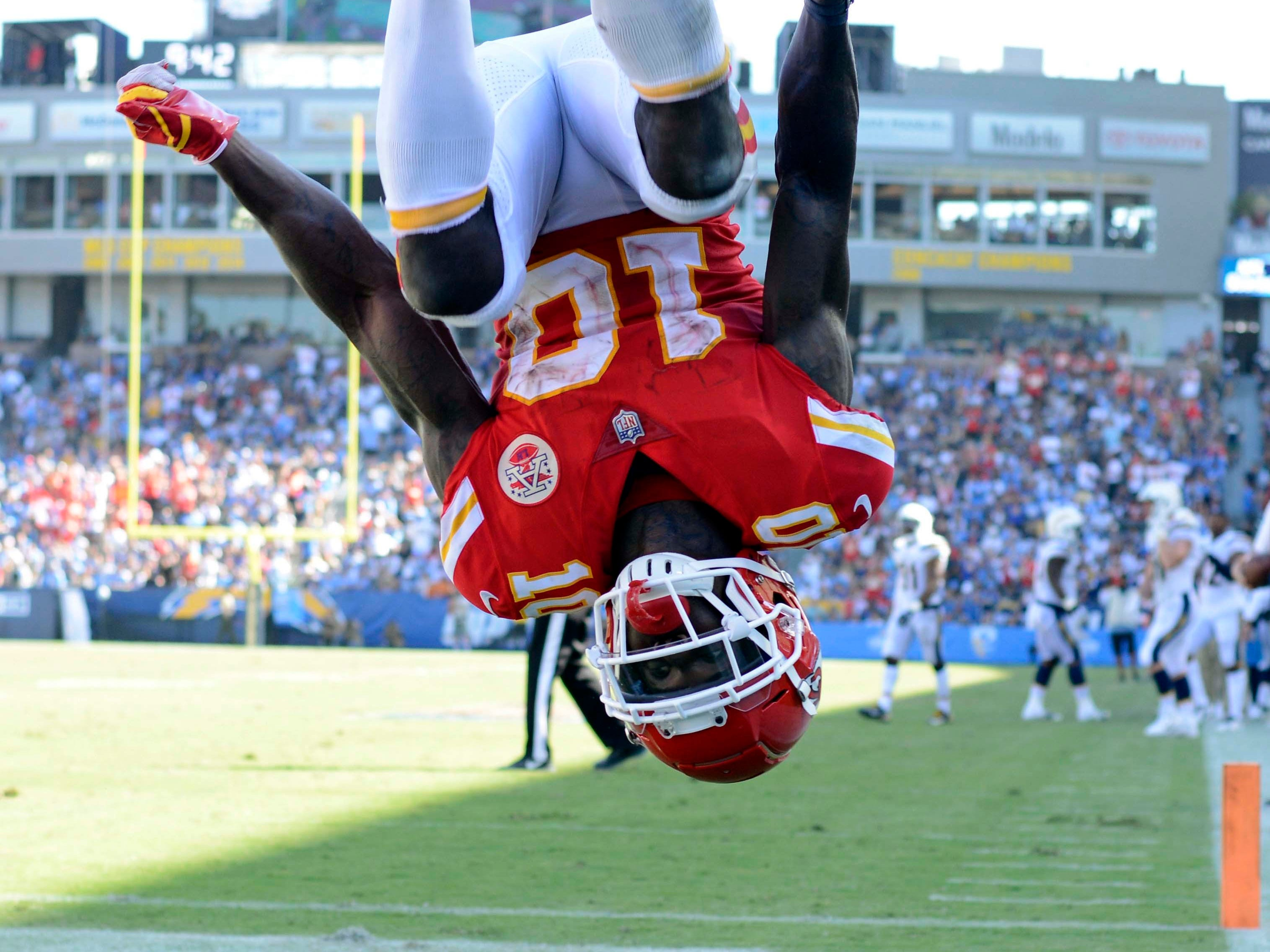 Kansas City Chiefs wide receiver Tyreek Hill flips in celebration after a  touchdown  against the Los Angeles Chargers at StubHub Center.