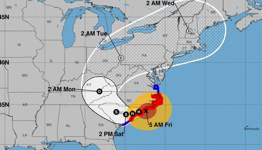 This map from the National Hurricane Center shows the expected track for Hurricane Florence on the morning of Friday, Sept. 14, 2018.