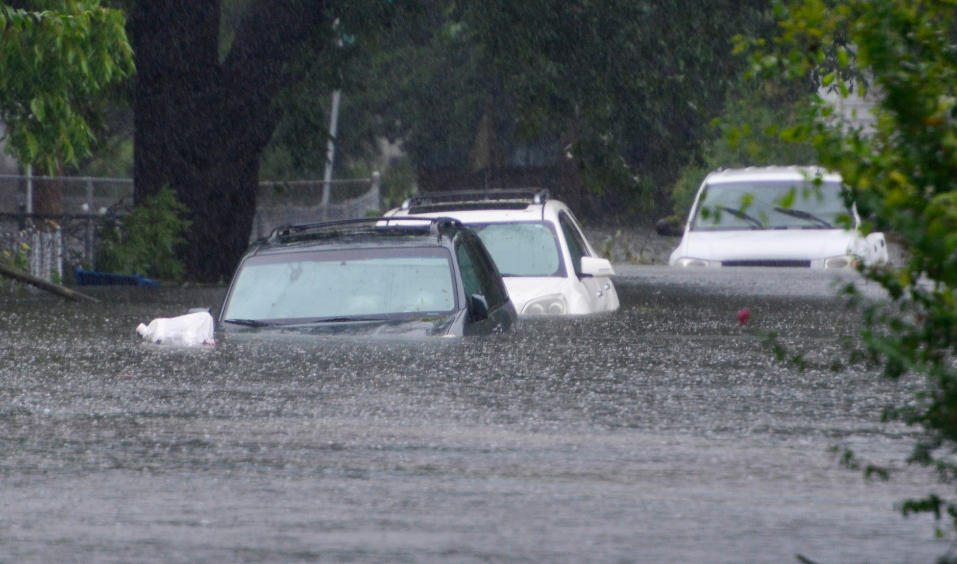 Hurricane Florence brought enough rain to cover the cars parked on 6th St in Washington, N.C. up to the hood with water on Friday afternoon on Sept. 14, 2018.