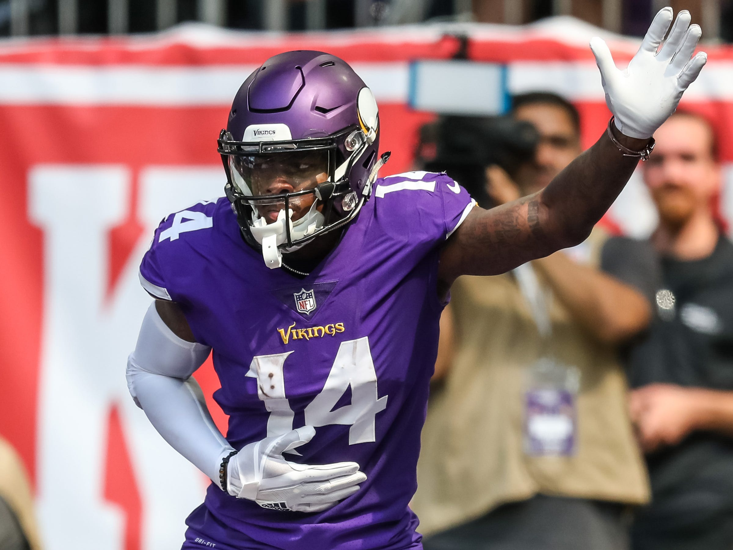 Minnesota Vikings wide receiver Stefon Diggs celebrates his touchdown during the second quarter against San Francisco 49ers at U.S. Bank Stadium.