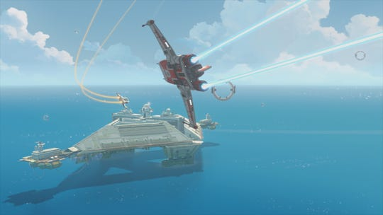 "Talented pilots engage in harrowing races above the Colossus in ""Star Wars Resistance."""