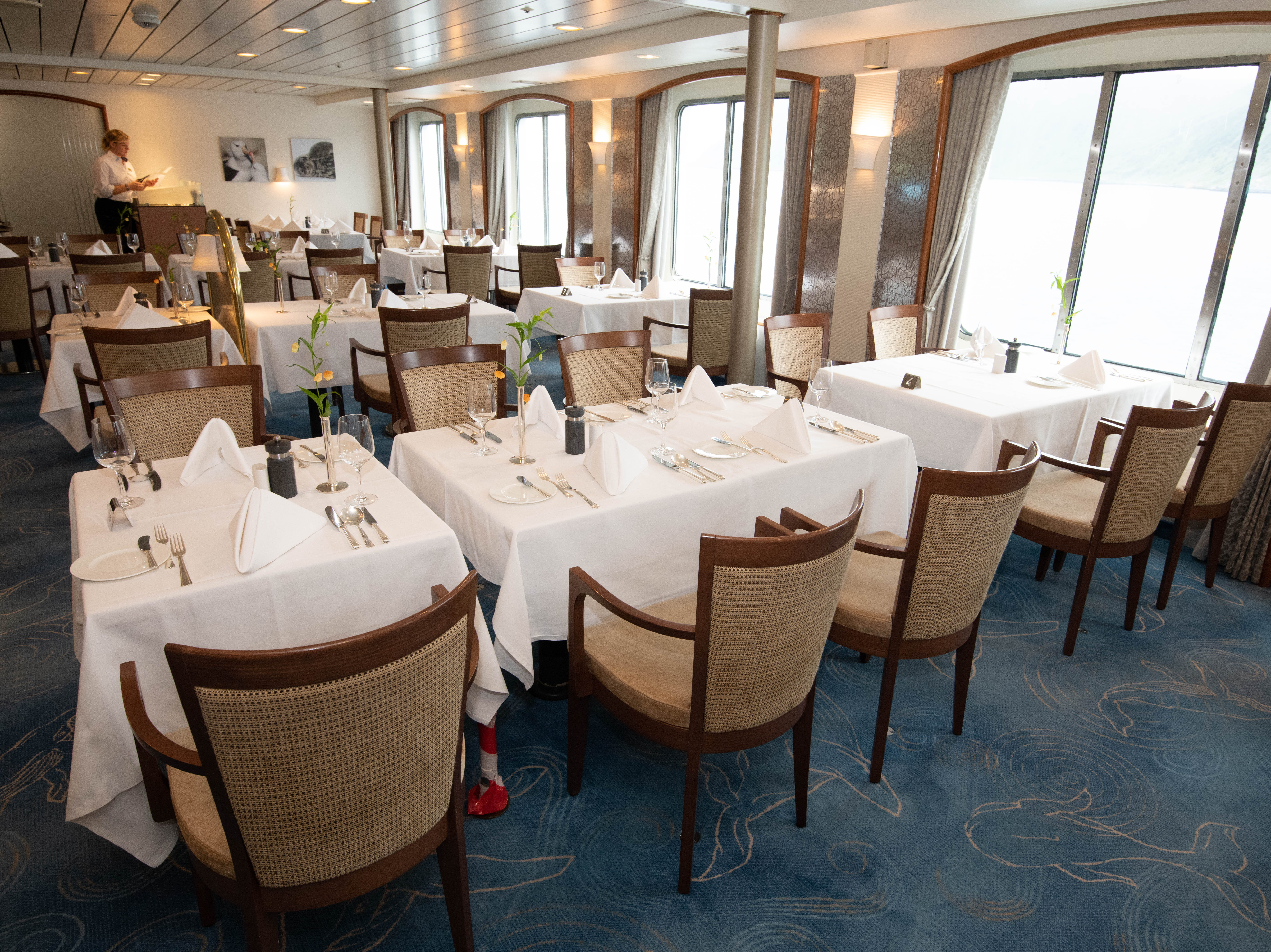 Located on Deck 4, the restaurant has a mix of tables for two, four, six and eight. Dinnertime brings relatively formal multi-course meals with passengers assigned to fixed tables.