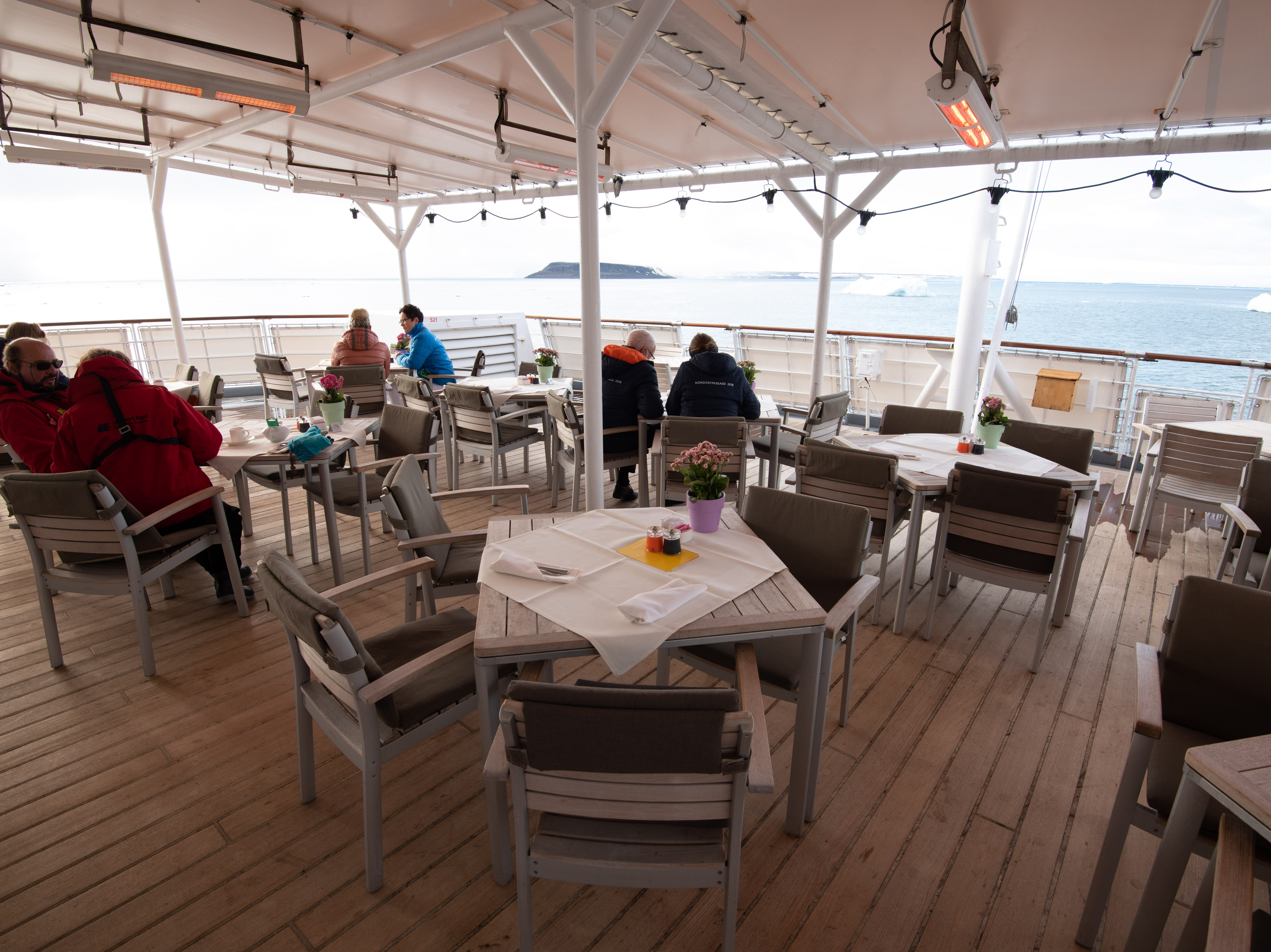 The seating at the Lido Deck is a popular spot at lunchtime.