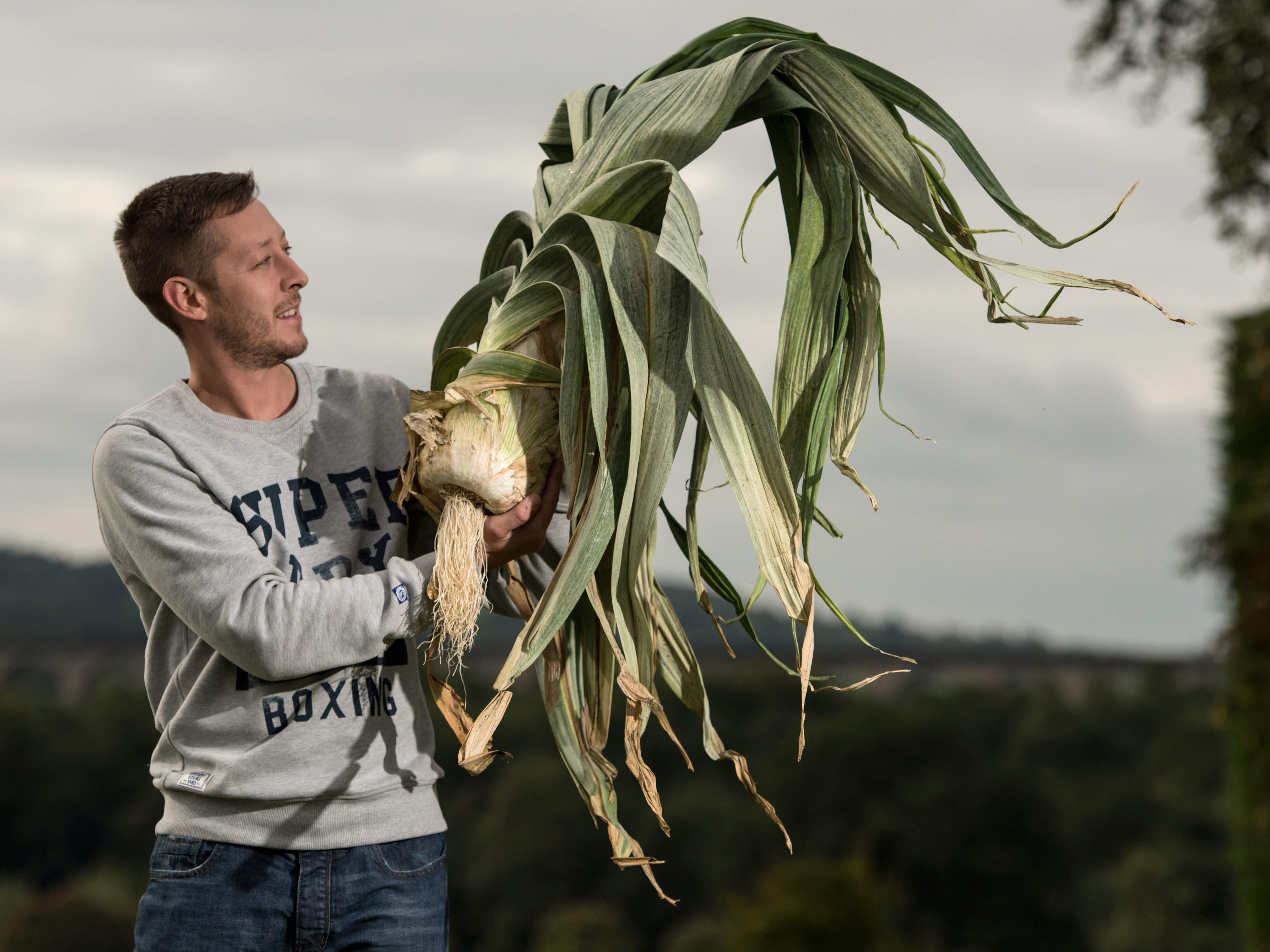 Mark Shepherd with his 14 pound leek which won the heaviest leek competition.