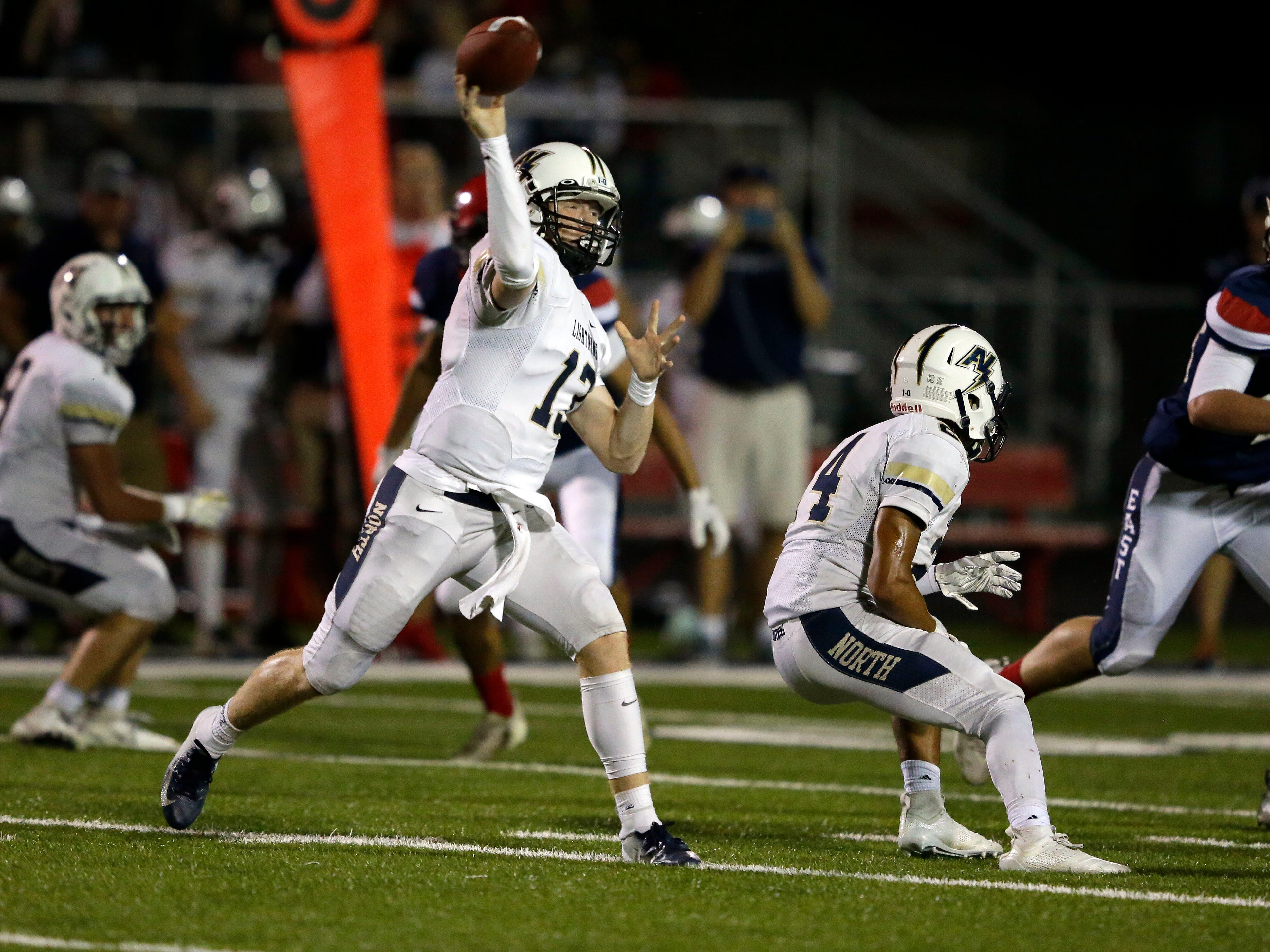 Carter Robinson of Appleton North passes against Appleton East in a Valley Football Association game Friday, September 14, 2018, at Appleton East High School in Appleton, Wis.Ron Page/USA TODAY NETWORK-Wisconsin
