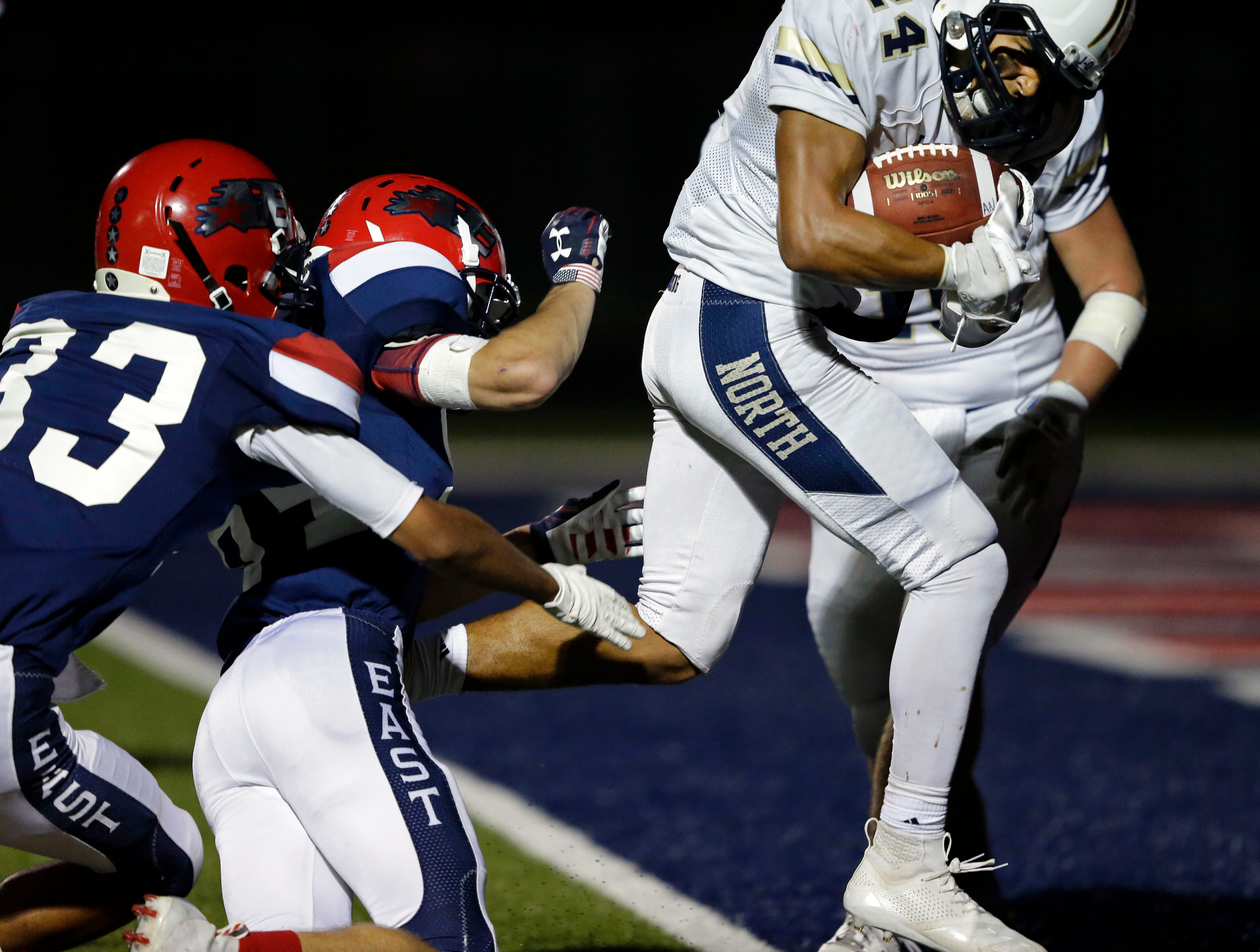 Ian Laatsch of Appleton North runs in for a touchdown against Appleton East in a Valley Football Association game Friday, September 14, 2018, at Appleton East High School in Appleton, Wis.Ron Page/USA TODAY NETWORK-Wisconsin