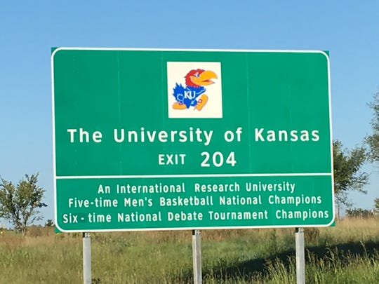 This highway sign on the Kansas Turnpike lets you know that you're getting close to the University of Kansas