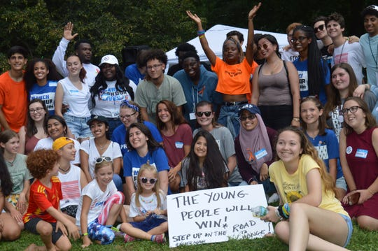 Sarah Emily Baum (2nd row, blue shirt) organized the August March For Our Lives rally in Morristown.