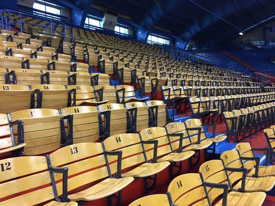 The wooden seats at Allen Fieldhouse at Kansas