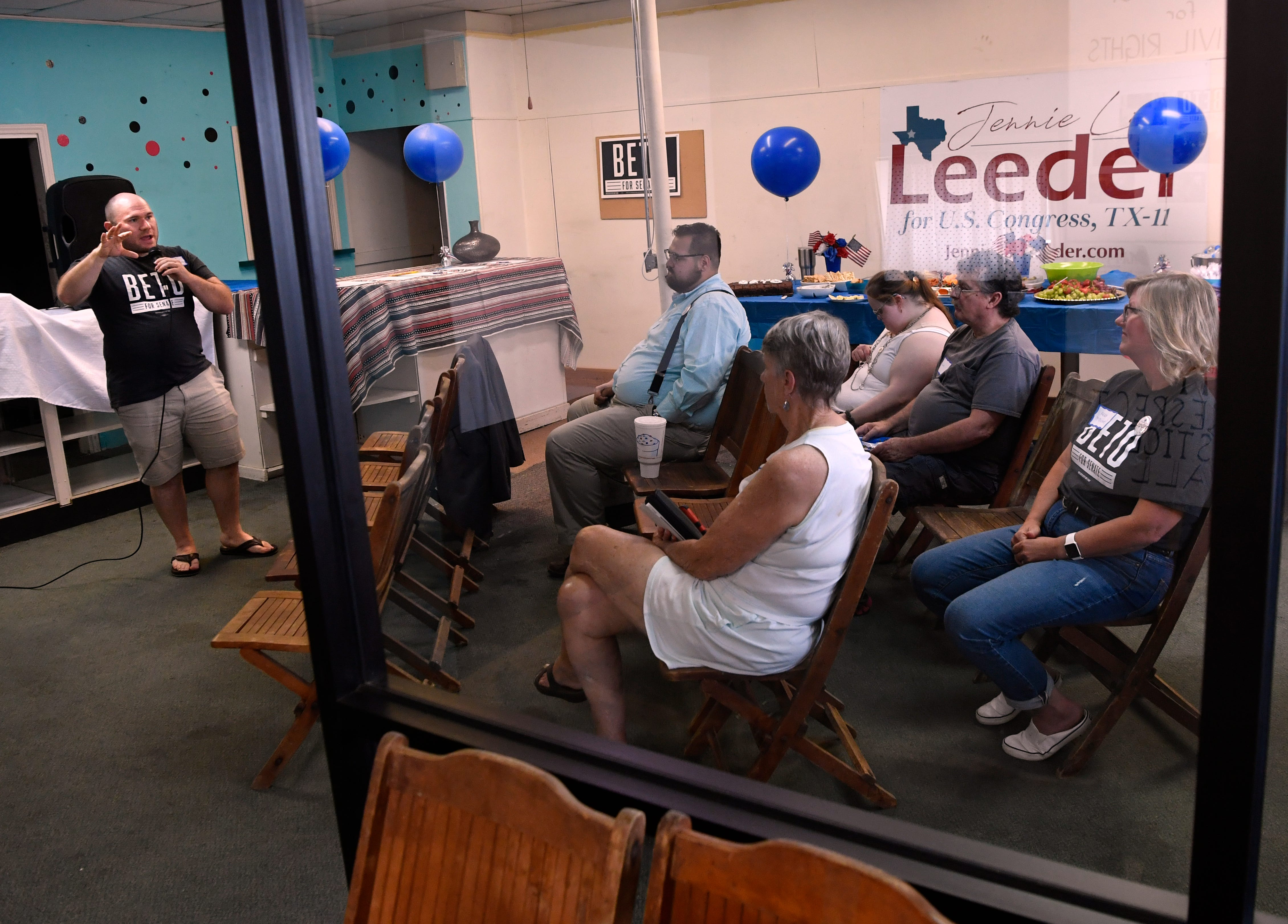 Daniel Dick, representing the Beto O'Rourke campaign, speaks during the opening of the Eastland County Democrats office Sept. 6. The office is located at 305 E. Main St.