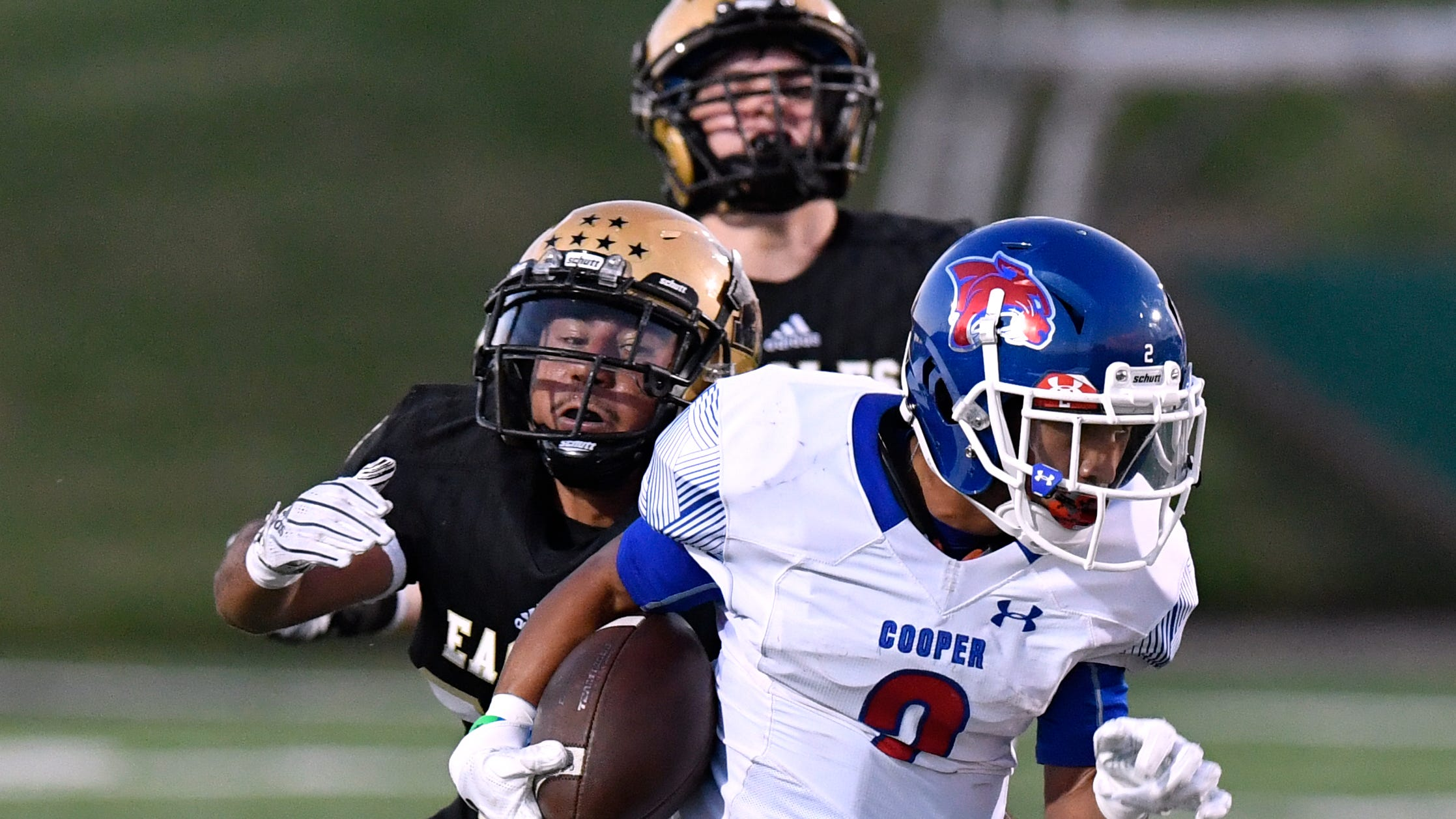 Abilene High linebacker Juan Torres tries to catch Cooper wide receiver Daelin Campos but is unable during Friday's Crosstown Showdown Sept. 14, 2018. Abilene won, 20-13.