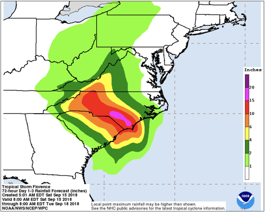 Rainfall predictions from Tropical Storm Florence, as of 2 p.m. Sept. 15, 2018.