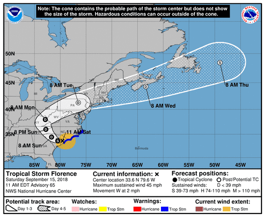 The path of Tropical Storm Florence as of 11 a.m. Sept. 15.