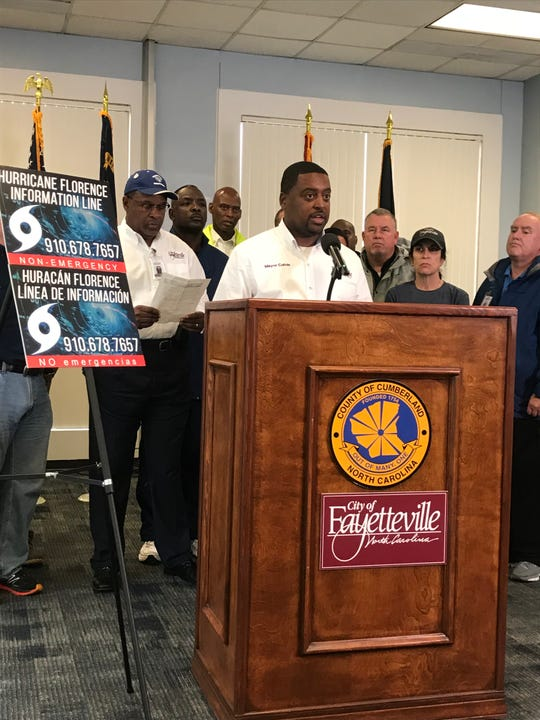Fayetteville Mayor Mitch Colvin speaking at a Saturday press conference urged people living near two Eastern North Carolina rivers, the Cape Fear and the Little, to evacuate.