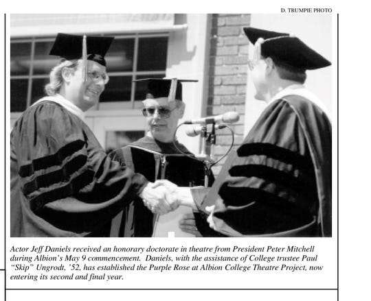 Actor Jeff Daniels receives an honorary doctorate  in theatre from Albion College in 1998.