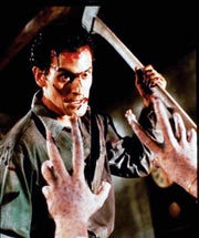 Bruce Campbell as Ash in the 1987 Sam Raimi horror film 'Evil Dead II.'