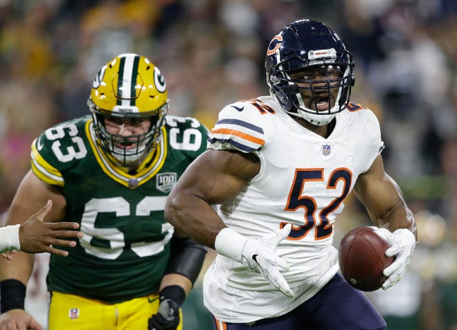 Khalil Mack of the Bears was dominant in a narrow loss to Green Bay last week. Now he faces a Seahawks offense that has struggled against elite pass rushers.