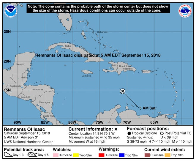 A graphic from the National Hurricane Center shows the location of the remnants of Isaac. Isaac dissipated early Saturday.