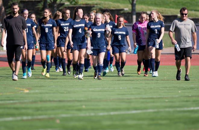 Burlington walks onto the field after halftime against Champlain Valley during Saturday's high school girls soccer game at Buck Hard Field on Sept. 15, 2018.