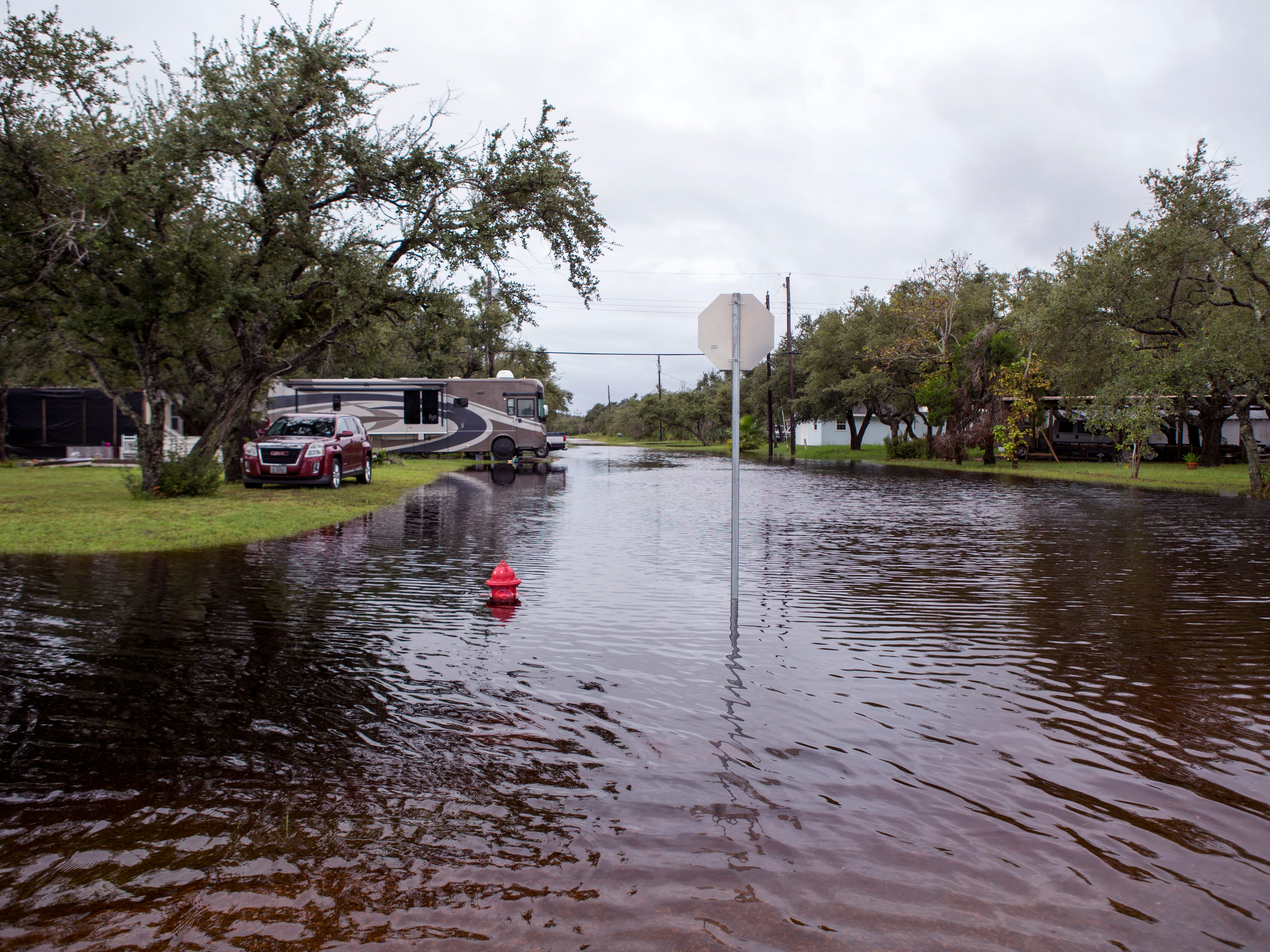 Roads adjacent Raintree RV Park in Rockport were flooded Saturday, September 15, 2018 due to high water.