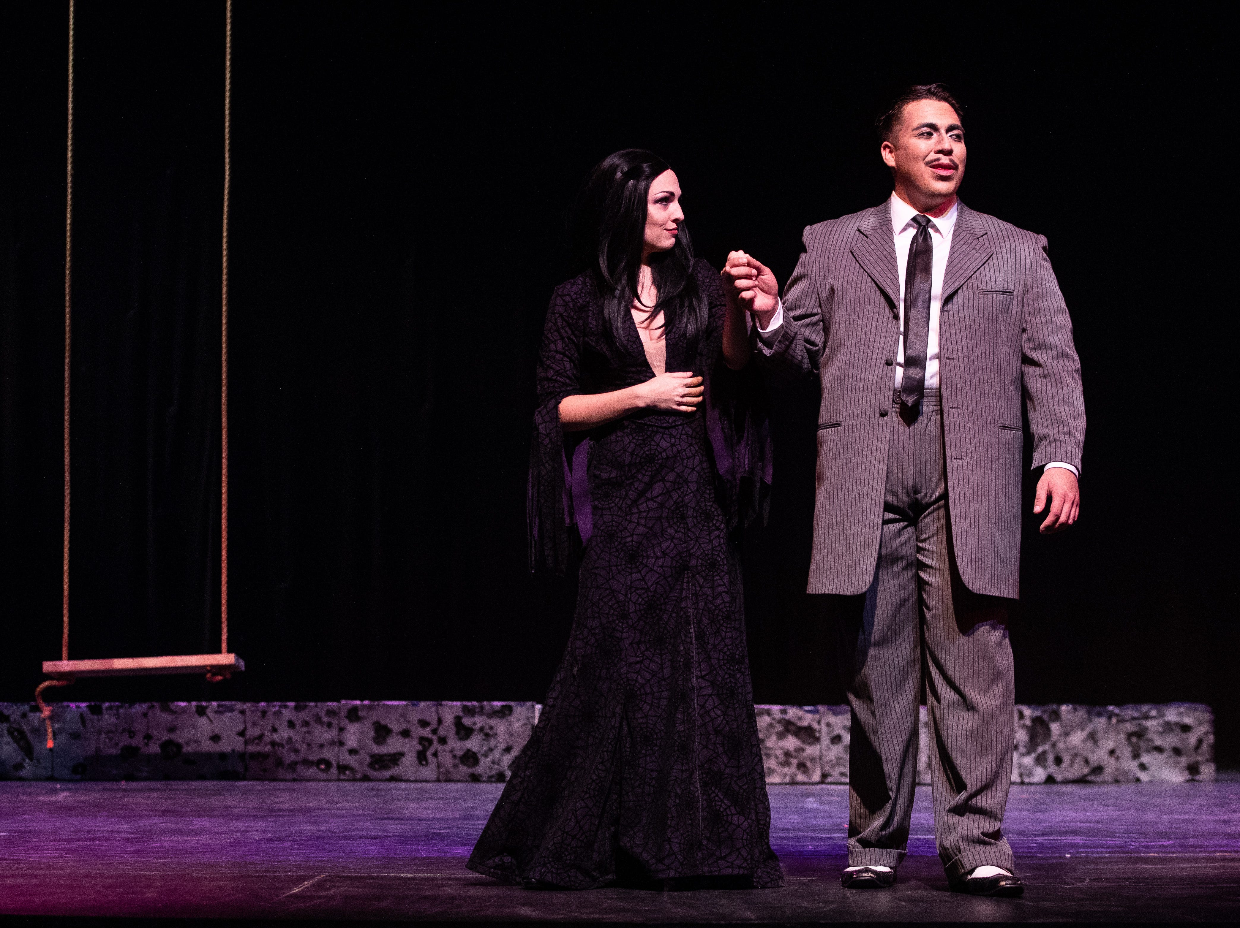 Morticia Addams played by Angela Cirino and  Gomez Addams played by Frank Garcia Jr. in the Harbor Playhouse's production of Addams Family running from Sept. 21 - October 31st.