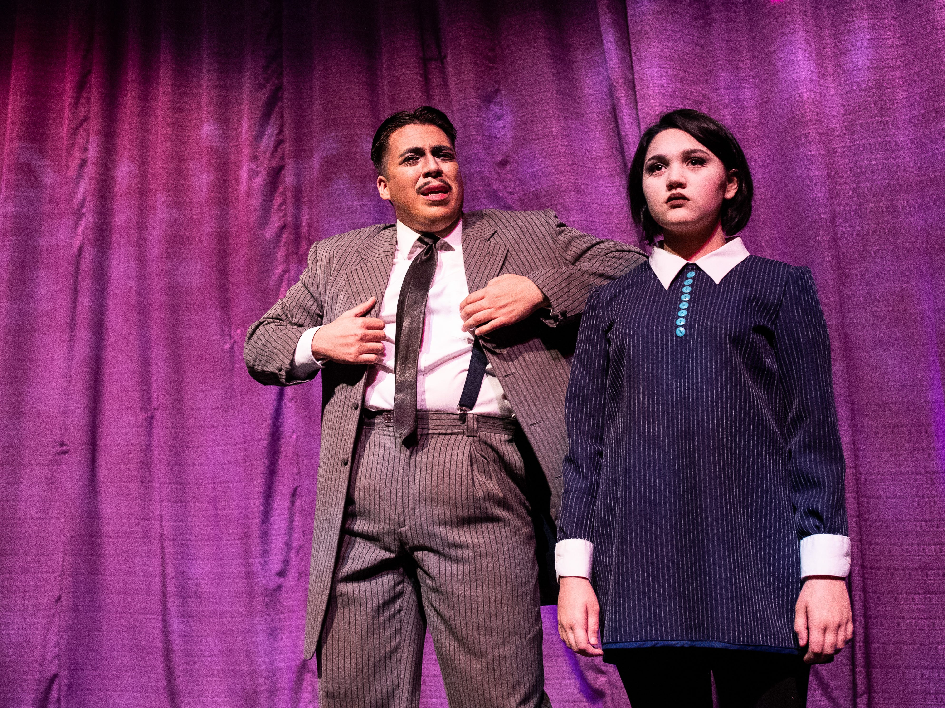 Gomez Addams played by Frank Garcia Jr. and Wednesday Addams played Eliot Ruiz in the Harbor Playhouse's production of Addams Family running from Sept. 21 - October 31st.