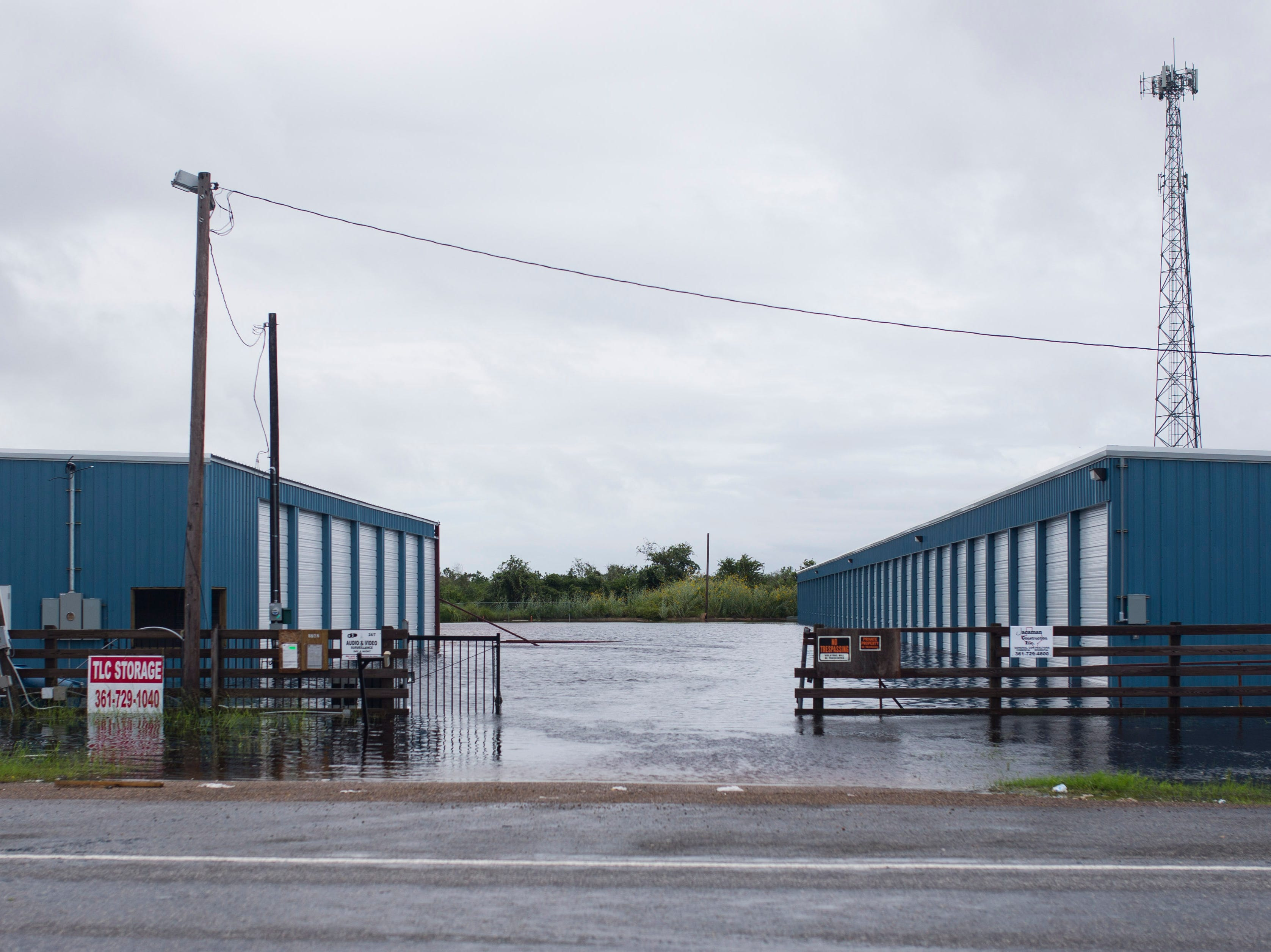 TLC storage units sit flooded in Rockport, Texas on Saturday, Sept. 15, 2018.