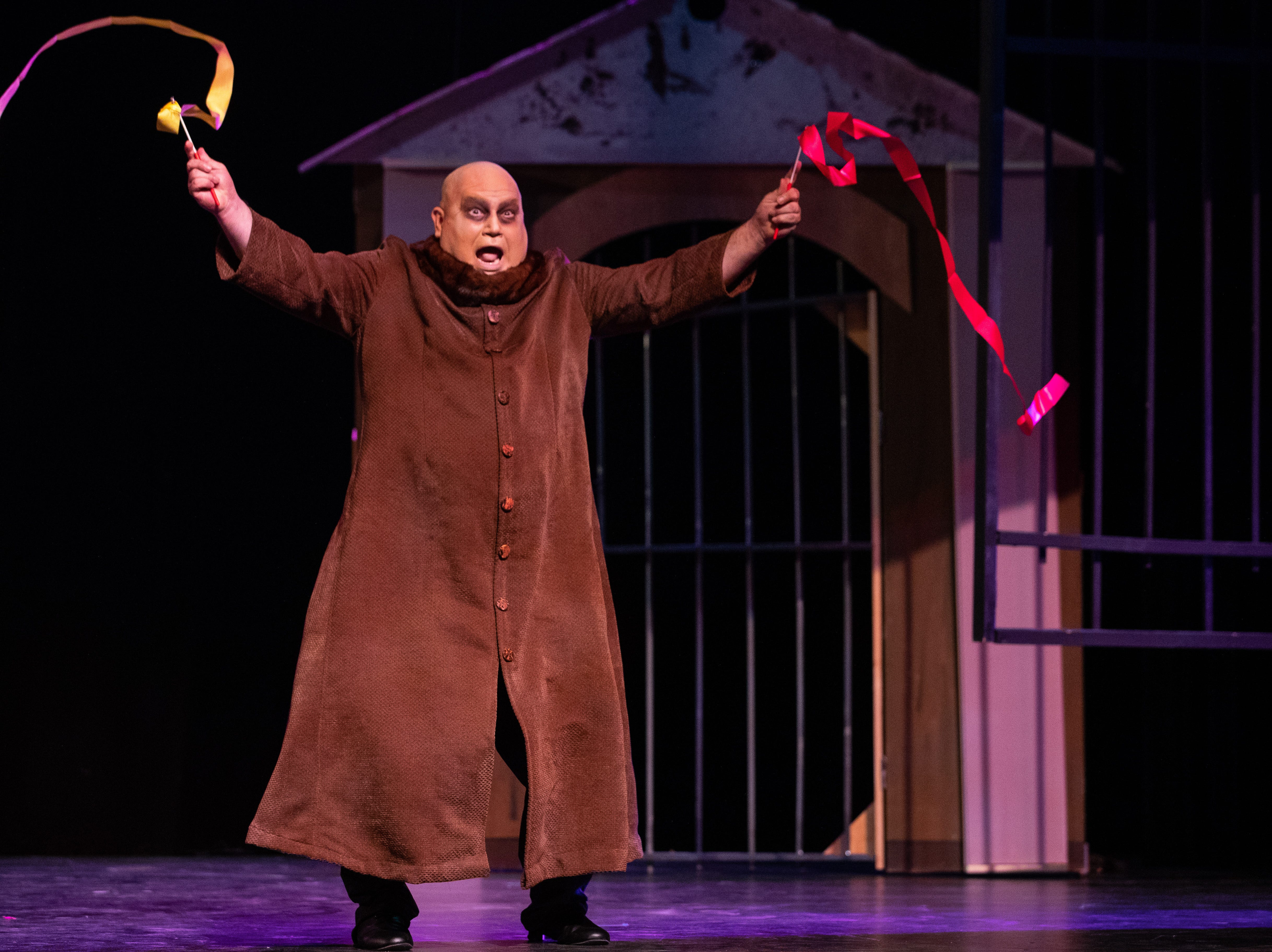 Uncle Fester played by Andres Elizondo II in the Harbor Playhouse's production of Addams Family running from Sept. 21 - October 31st.