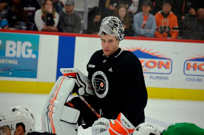 Anthony Stolarz, a second-round pick in the 2012 draft, will split the action with Alex Lyon in Sunday's preseason opener against the New York Islanders.