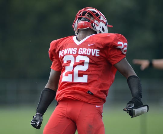 Penns Grove's Makhi Scott reacts after making a defensive stop during the first half against Paulsboro at Penns Grove High School, Saturday, Sept. 15, 2018.