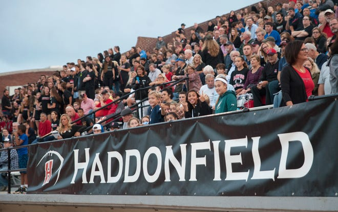Spectators fill the seats of the Haddonfield High School football stadium prior to the start of the football game between Haddonfield and Cinnaminson played at Haddonfield High School on Friday, September 14, 2018.