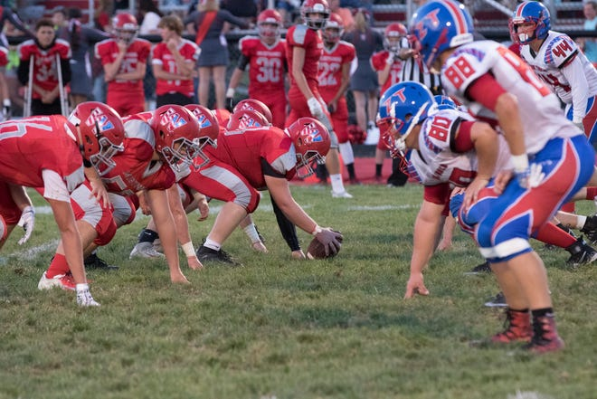 Westfall's offensive line lines up against Zane Trace in a 17-0 loss to the Pioneers in 2018 at Westfall High School.
