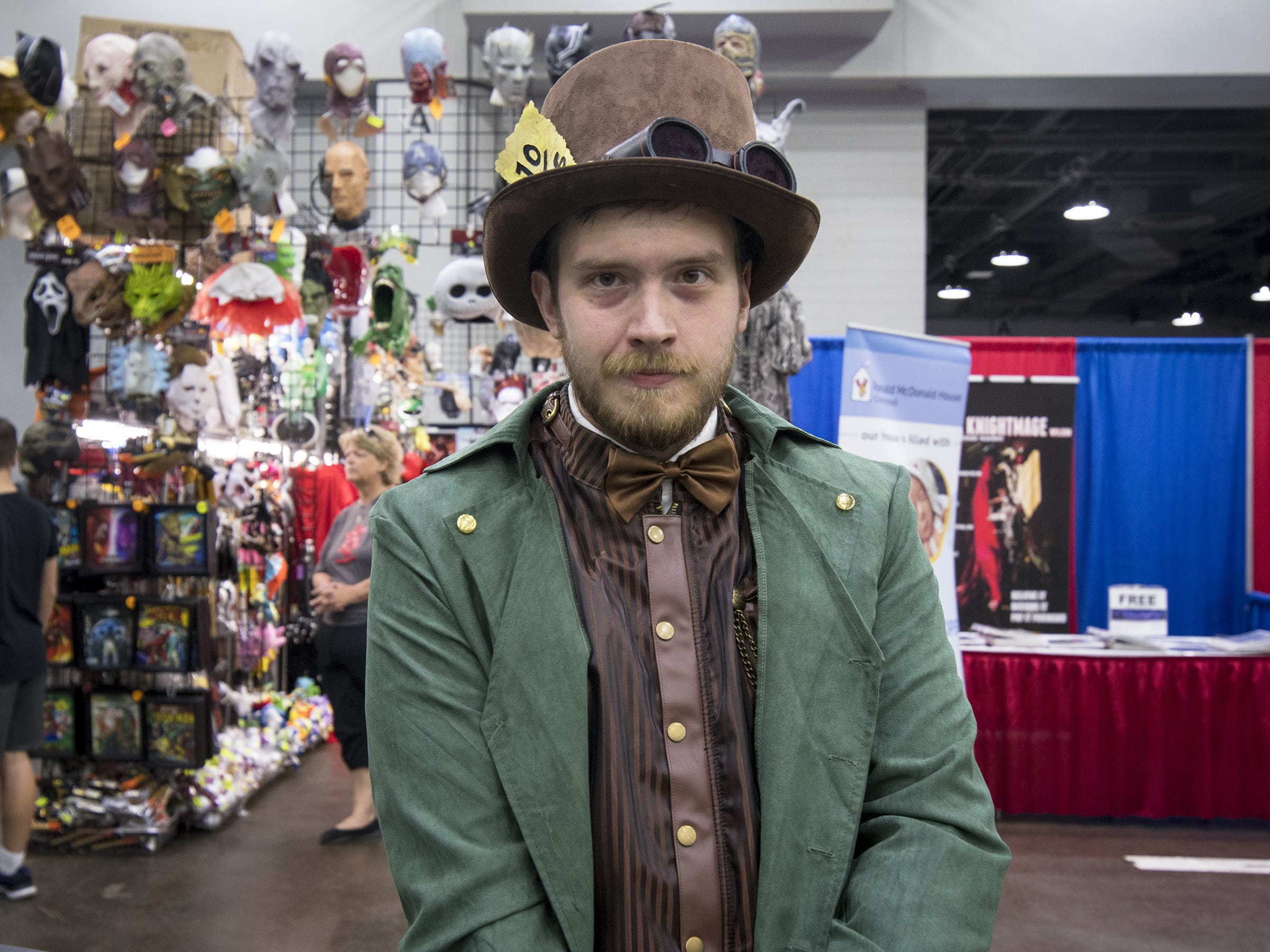 Trevor Conn of Amelia dresses as a steampunk Mad Hatter.