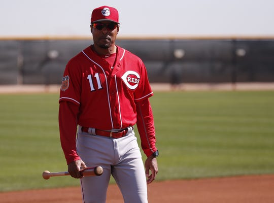 Cincinnati Reds special assistant to the general manager Barry Larkin takes in batting practice during Cincinnati Reds spring training, Thursday, Feb. 16, 2017, at the Cincinnati Reds player development complex in Goodyear, Arizona.
