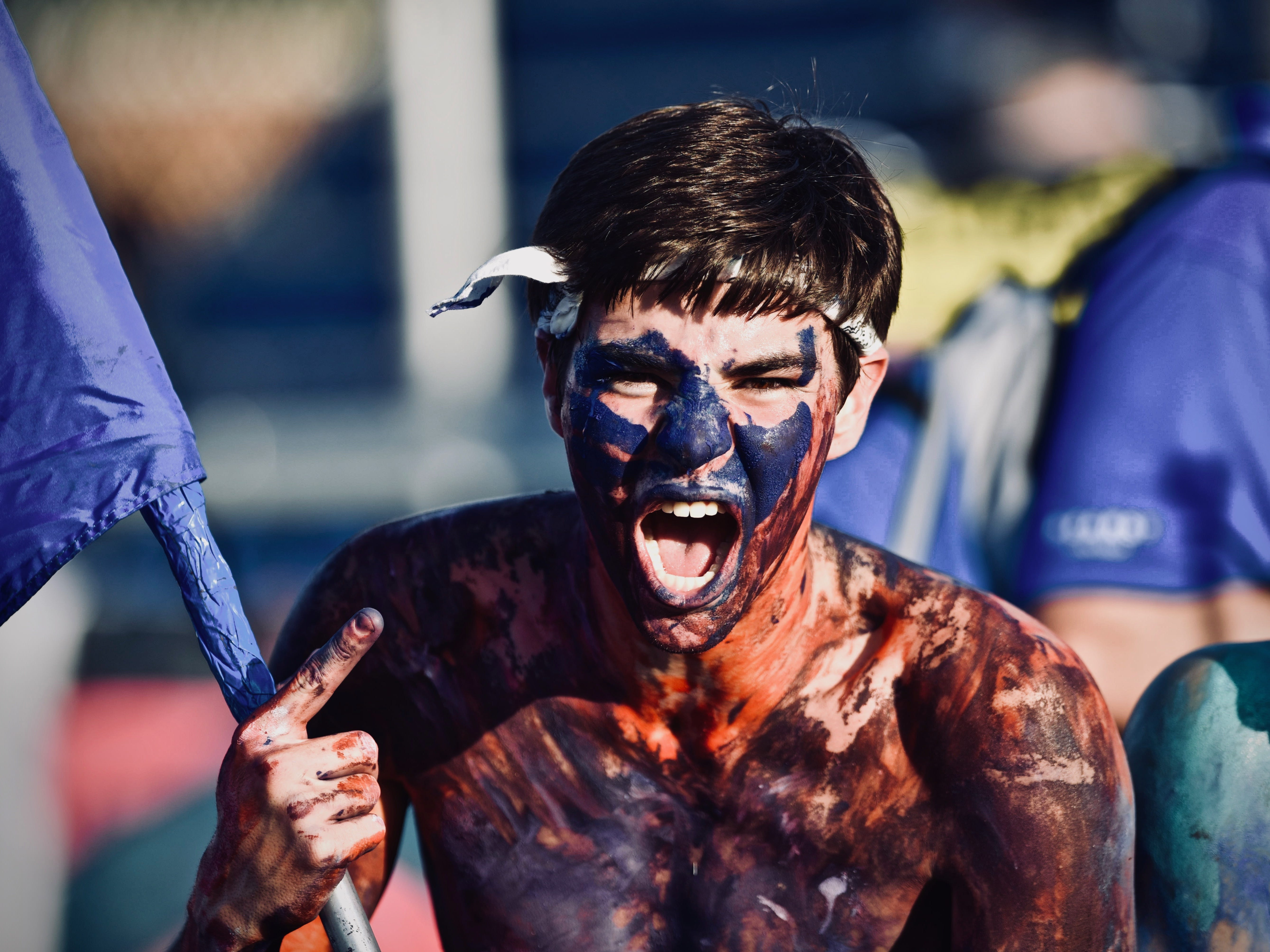 A Covington Catholic student cheers on the Colonels against Beechwood Friday, Sept. 14, 2018.