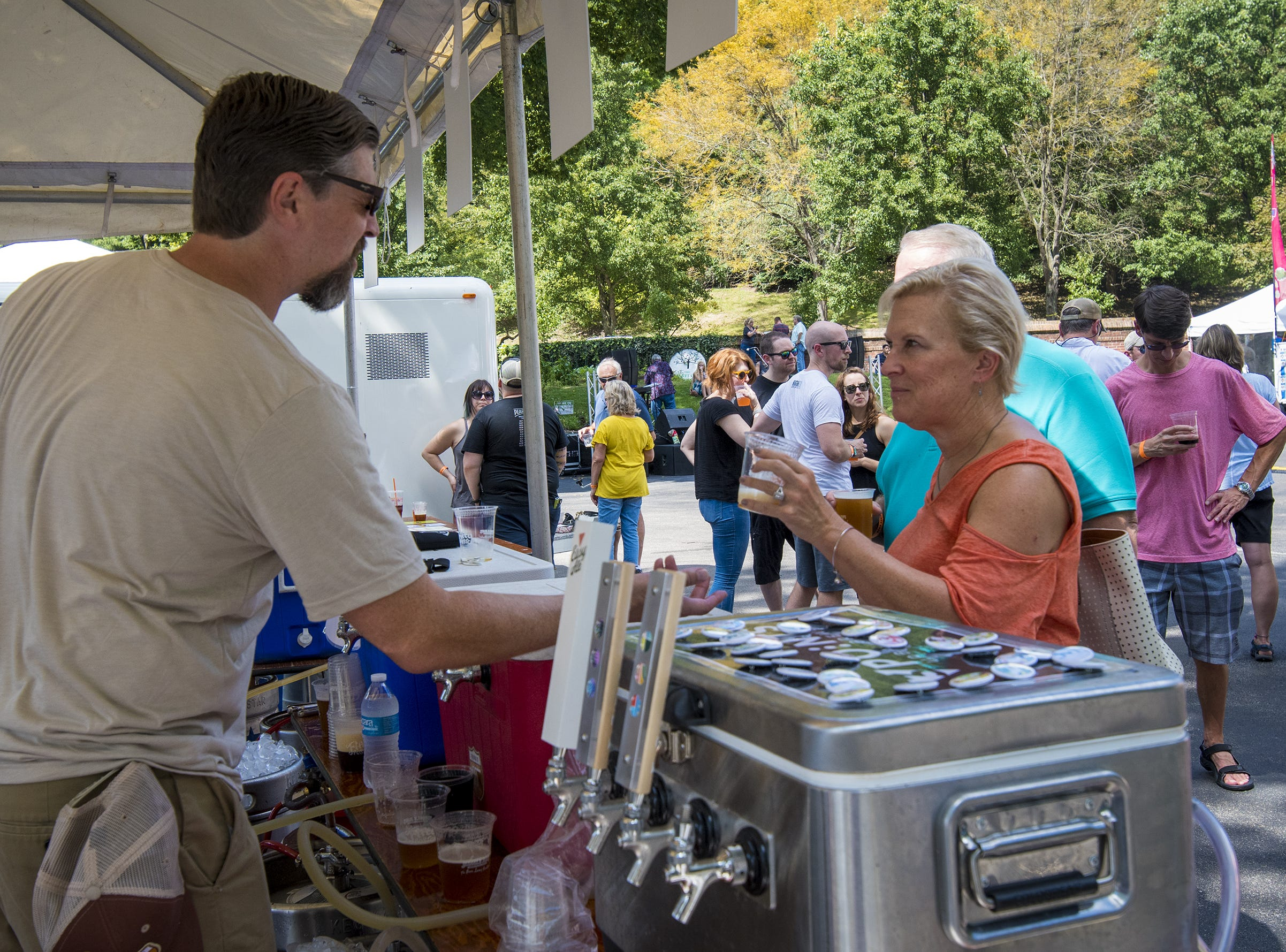 Beers from many local breweries are available during Fifty Fest at 50 West Brewing Saturday, September 15, 2018 in Cincinnati, Ohio.