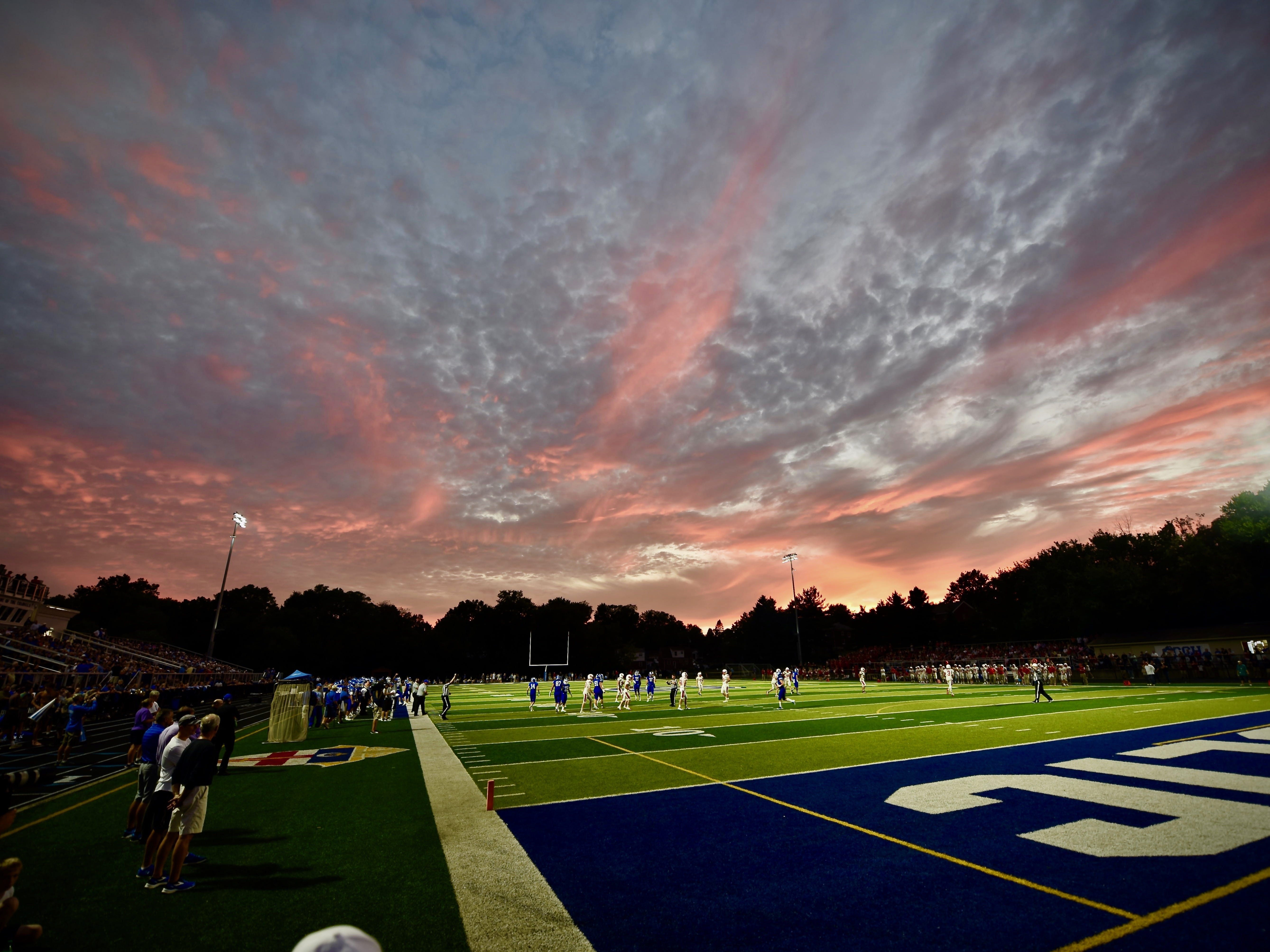 The sun sets in Covington, as the Covington Catholic Colonels take on the Beechwood Tigers Friday, Sept. 14, 2018.