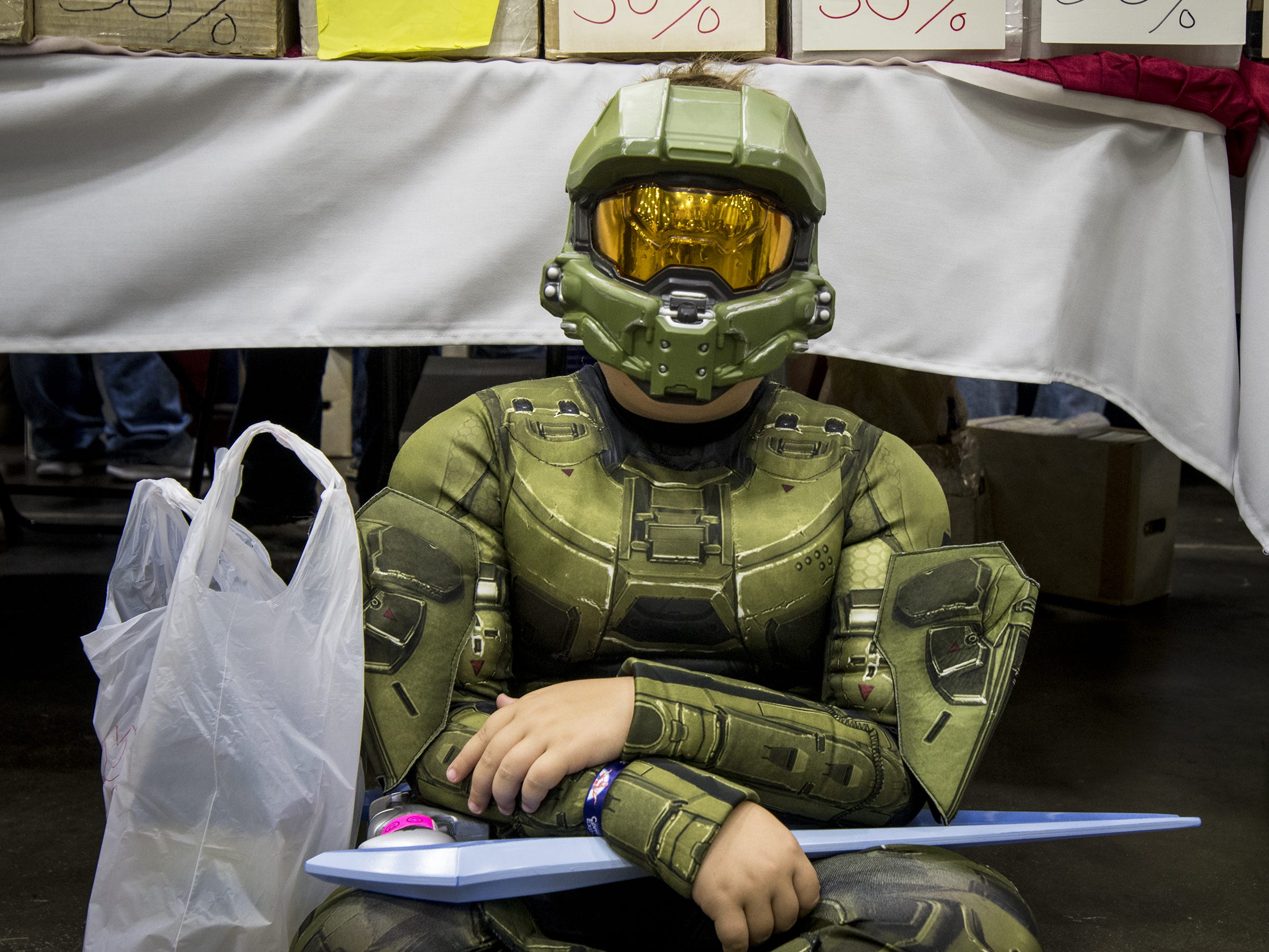 Lucas Leap, 10, of Crittenden is dressed as the Master Chief from the video game Halo.