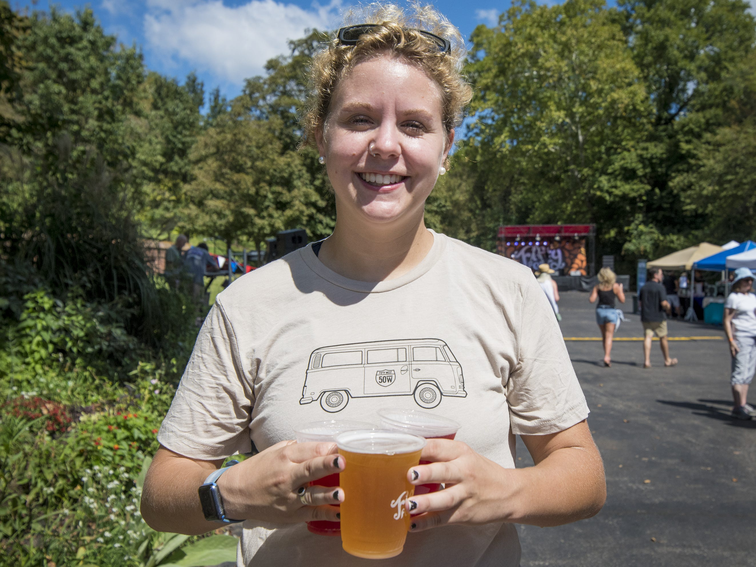 Frank with 50 West grabs some brews during Fifty Fest at 50 West Brewing Saturday, September 15, 2018 in Cincinnati, Ohio. The festival features beers from tons of local breweries.
