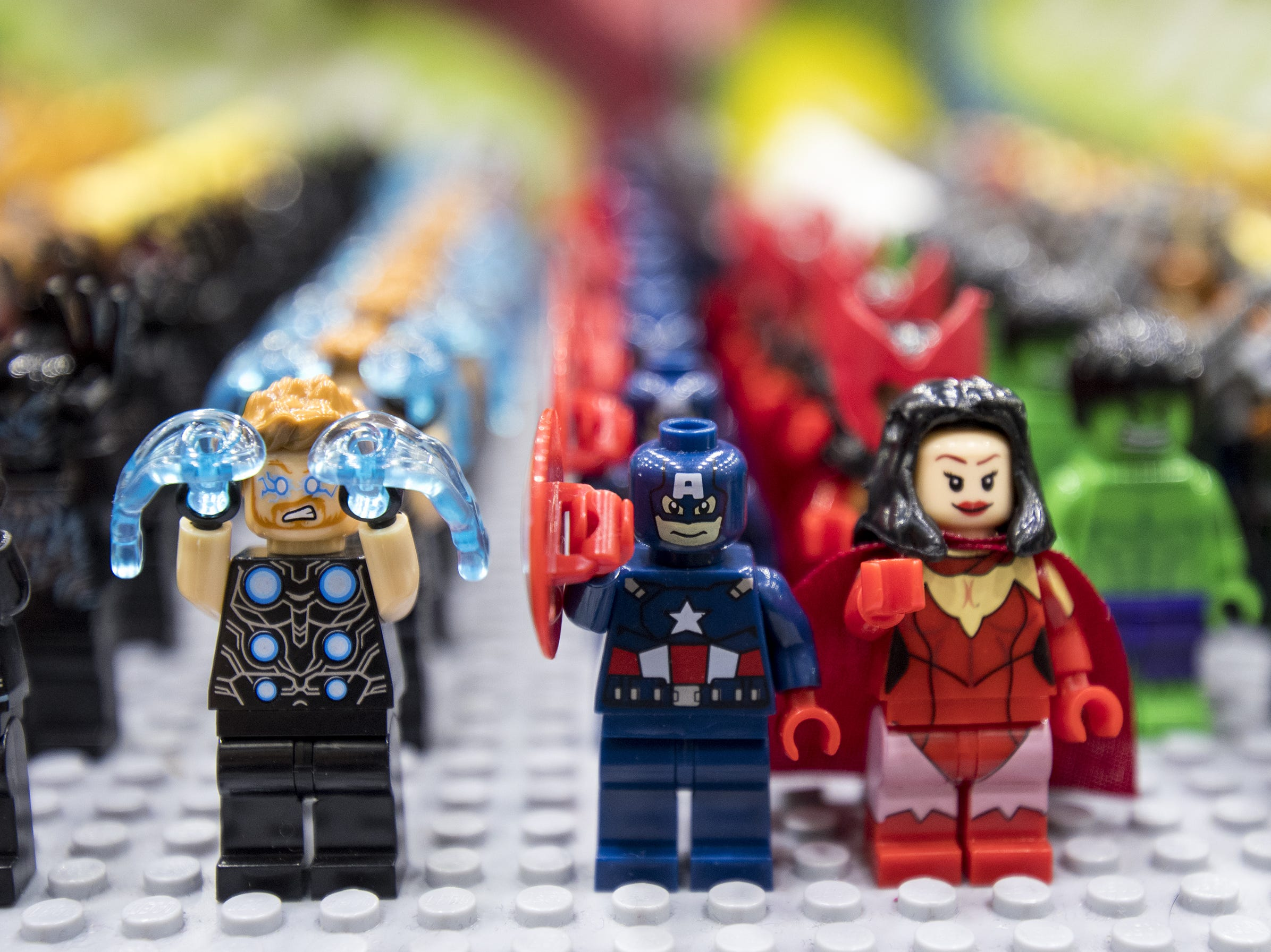 Lego Avengers are lined up for sale at the Cincinnati Comic Expo at the Duke Energy Center, running through Sunday.