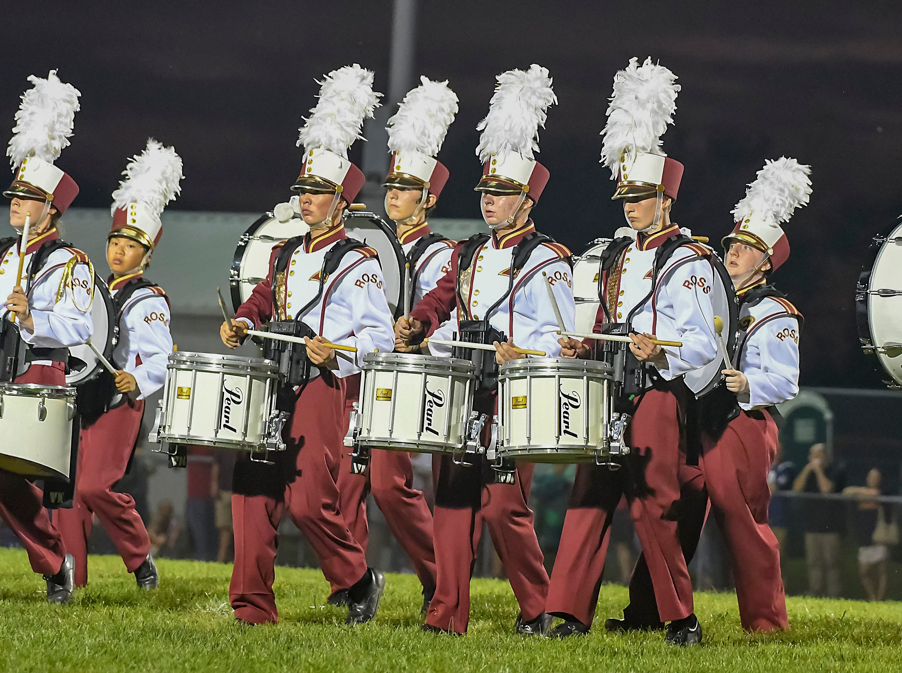 Ross band members plays their drums during halftime of the  home coming game against Harrison, Ross High School, Friday, September 14, 2018
