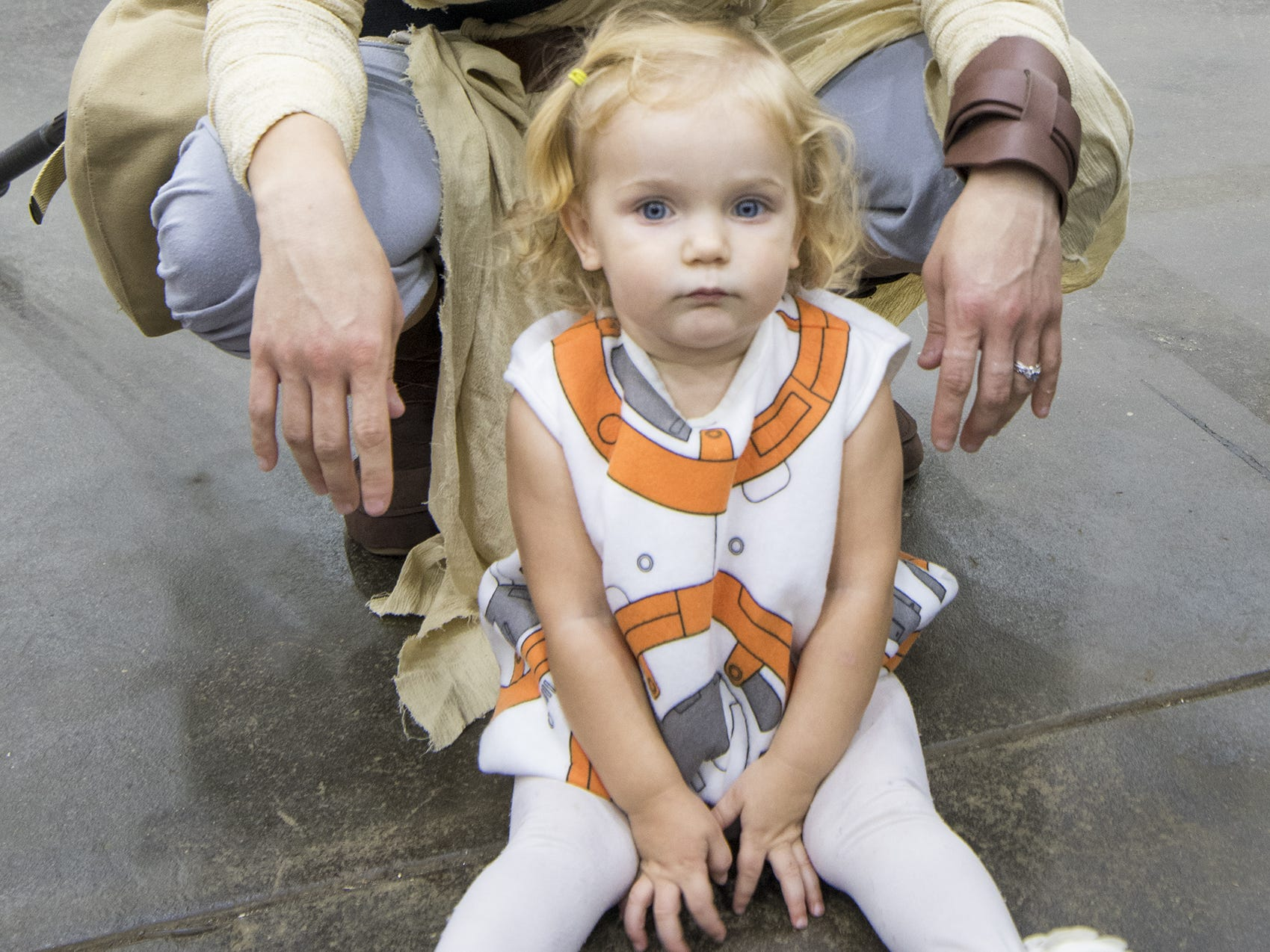 Jess and Kate, 2, dress as Rey and BB-8 from Star Wars.