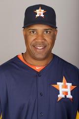 This is a 2013 photo of Eduardo Perez of the Houston Astros baseball team.