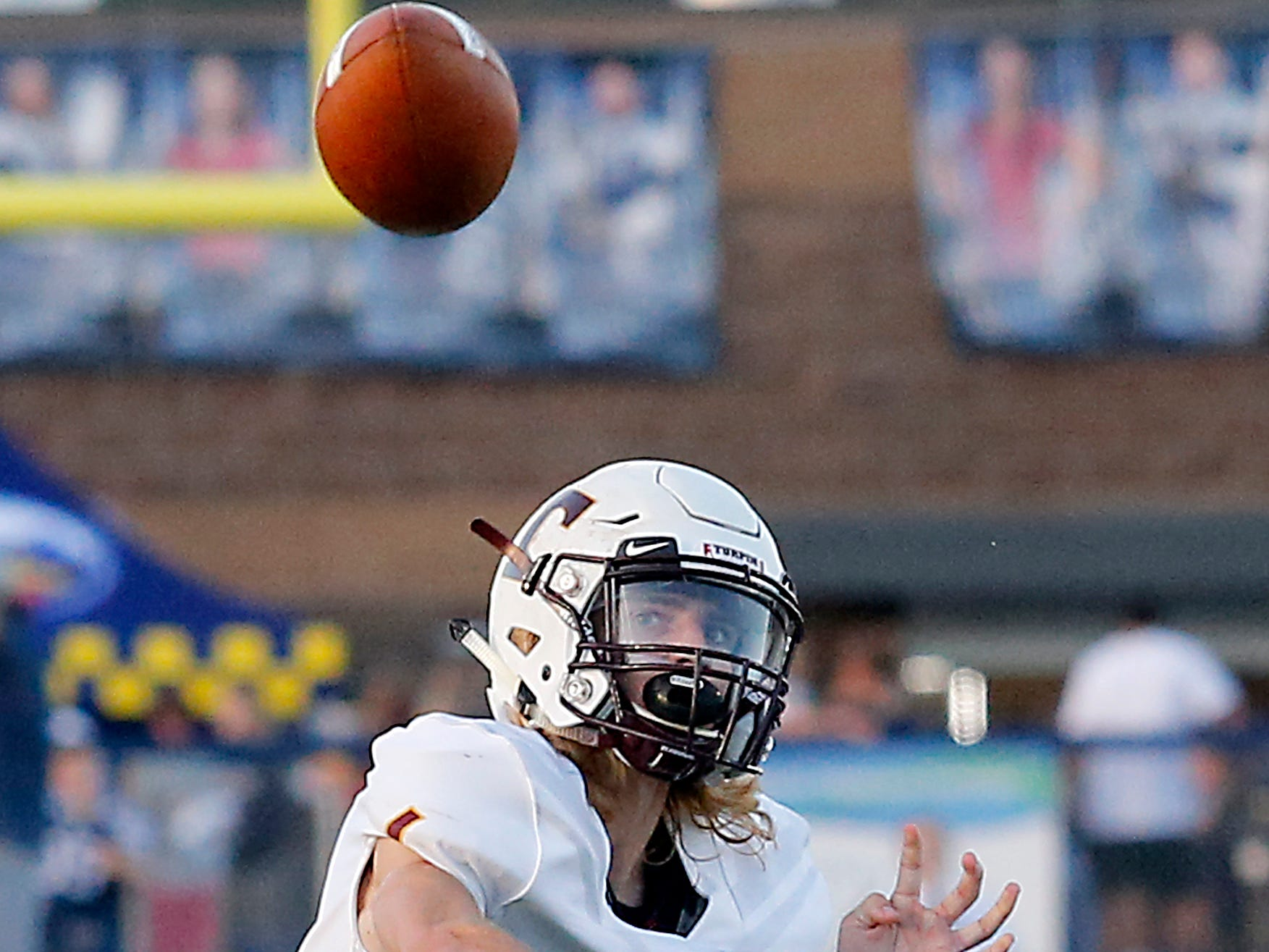 Turpin quarterback Justin Silverstein fires a pass against West Clermont during their 2018 Skyline Chili Crosstown Showdown at West Clermont Friday, Sept. 14, 2018.
